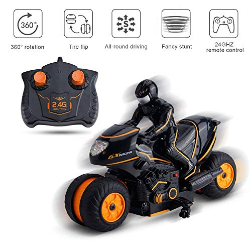 MOGOI RC, Moto da acrobazie radiocomandate, Rotazione di 360 Gradi di Azione Rotante Drift Stunt Moto 2WD 2.4Ghz ad Alta velocità Rc Motocicli con Figurine Giocattolo per Bambini e Ragazzi Arancione.