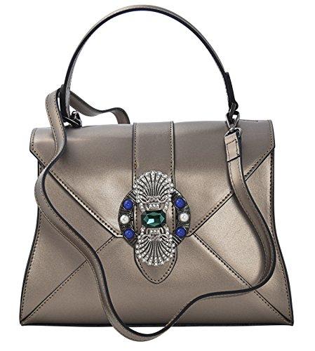 ALINA Henkeltaschen Schultertaschen Handtaschen Tasche Damen Echtes Leder Made in Italy Braun-Metall