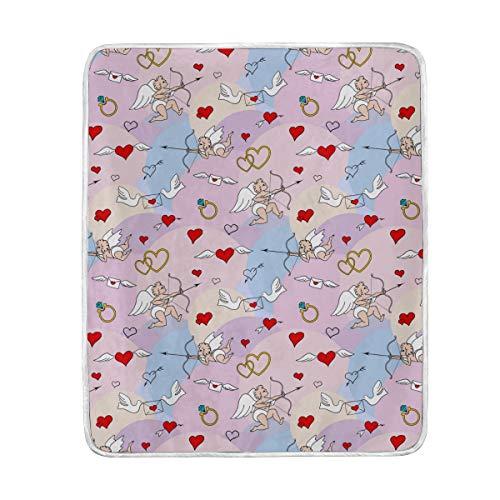 vinlin Valentine Cupid Love Heart Samt Plüsch Überwurf, gemütlich, warm, leicht, Decke für Wohnzimmer Outdoor Reisen 127 x 152 cm