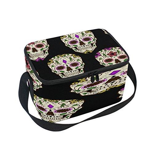 Domoko Tag der Toten Halloween Sugar Skull Isolierte Lunch Bag Tasche Cooler Lunchbox für Picknick Schule Frauen Herren Kinder