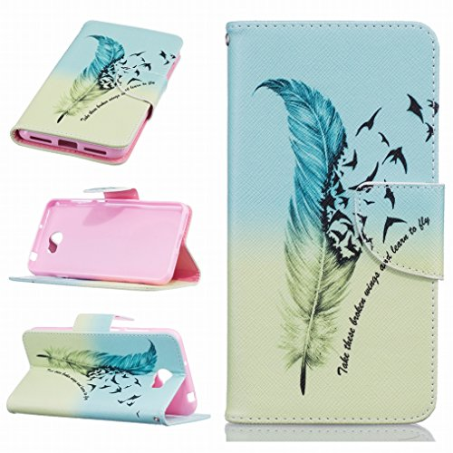 LEMORRY Huawei Y5II Etui Gaufré Cuir Flip Portefeuille Pochette Mince Bumper Protecteur Magnétique Fermeture Standing Fente Carte Soft Silicone TPU Housse Case Cover Coque pour Huawei Y5II (Huawei Y5 2, Honor Play 5, Honor 5 Play),Plume