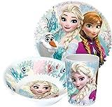 Stoviglie per bambini, in melamina, con piatto, scodella e bicchiere, soggetto: Frozen (Disney)