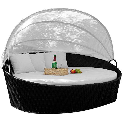 garten relaxinsel Exclusive Sonneninsel aus Poly Rattan Lounge Rattanbett Sonnenliege weiß