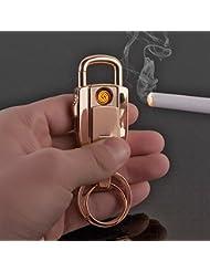 Mechero JOBON 2-en-1elegante anillo de llavero de coche recargable por USB zb-8755(Color Dorado)