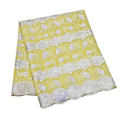 PEEGLI Frauen Traditionelle Dupatta Pailletten Vintage Lange Gelbe Stola Blumen Wrap Indische Partei Tragen Georgette Mischung Chunni DIY Kunst Stoff -