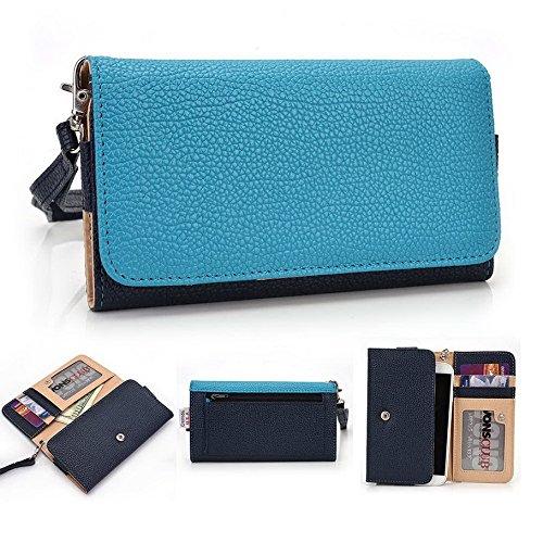 Kroo Pochette Téléphone universel Femme Portefeuille en cuir PU avec sangle poignet pour Gigabyte GSmart Guru GX/Mika MX Violet - violet Bleu - bleu