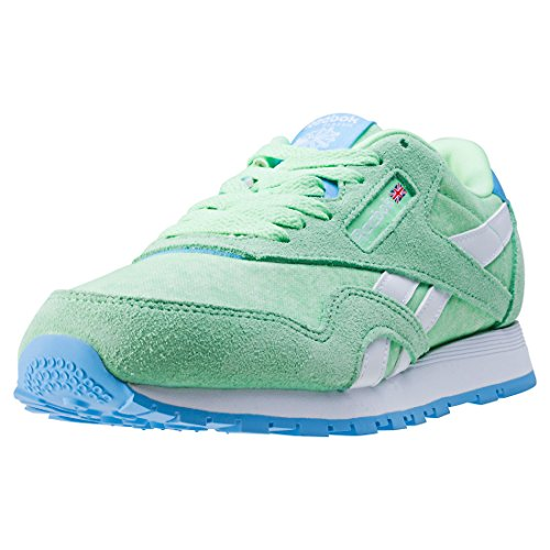 Reebok Cl Nylon Washed, Sneaker Basses Femme Vert (Mint Green/sky Blue/white)
