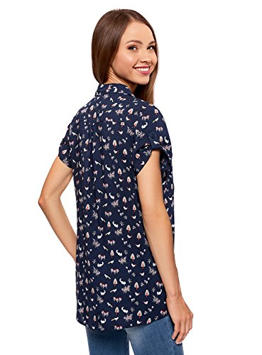 oodji Ultra Damen Viskose-Bluse mit Brusttaschen Blau (7912Q)
