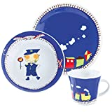 Kahla 32D200O76643C Kids Abenteuerexpress Kindergeschirr Geschirr-Set für Jungs bunt rund 3 teilig Set Tasse Suppenteller Teller