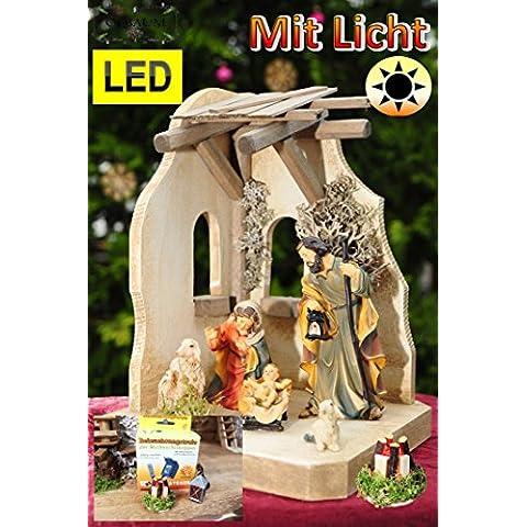 Set + statuine per presepe, presepe greppia 14pezzi con custodia per 6pezzi statuine pregiate completamente Set di collegamento con illuminazione (Trasformatore, Lanterna, LED
