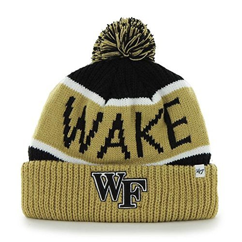Wake Forest Demon Deacons Gold Cuff Calgary Beanie Hat with Pom - NCAA Cuffed Winter Knit Toque Cap by '47