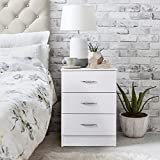 Laura James White Bedside Table Nightstand Unit Cabinet/with 3 Drawers Premium