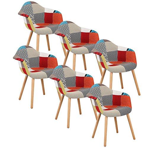 Woltu bh37mf-6 sedie da pranzo sedia cucina soggiorno ristorante poltrona poltroncina con schienale braccioli stoffa lino gambe di faggio moderno patchwork 6 pezzi