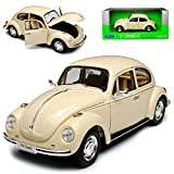 Welly VW Volkswagen Käfer Coupe Creme Beige Weiss 1/24 Modell Auto mit individiuellem Wunschkennzeichen