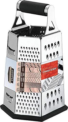 [6 Seite ] Reibe - Edelstahl Vierkantreibe - 24 cm Höhe - Lebensmittelreibe für Hart- & Weichkäse, Gemüse, Ingwer, Zitrone, Orange, Nüsse von Utopia Kitchen