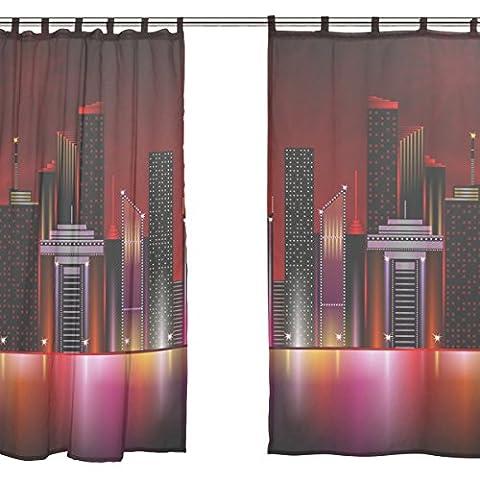 jstel 2Pcs Voile Fenster Vorhang, Night City red bling light, Tüll Sheer Vorhang Tuch Querbehang 139,7x 198,1cm Zwei scheibenelementen Set