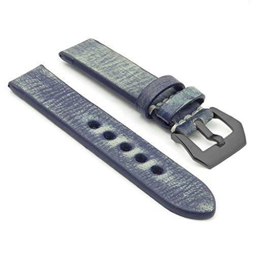 strapsco Extra Lang 18mm blau stark Distressed Vintage Leder Armbanduhr Band W/schwarz Pre-V-Dornschließe