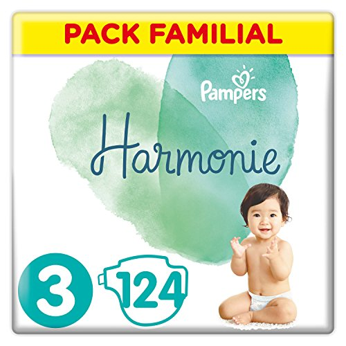Pampers - Harmonie - Couches Taille 3 (6-10 kg) Hypoallergénique - Pack Familial(124 couches)