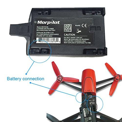 Morpilot® 2 Stück 1700mAh 11,1V Hochleistungsakku Ersatzteile Verlängerte Flugzeiten für Parrot Bebop Drone 1,0 Quadcopter Teile - 6