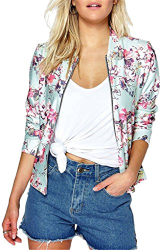 EUDOLAH Damen Blazer Strickjacke Sweatshirt mit Reissverschluss Streetwear Frühling Herbst A-Rosa L (Brust: 102cm Länge: 63cm)