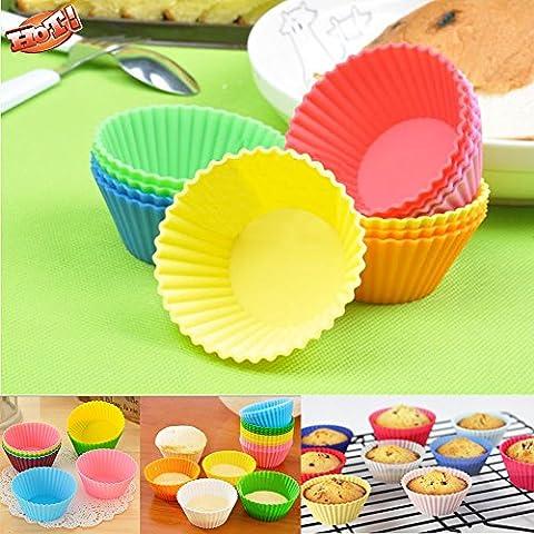JSS Round Retro Set stampi per dolci, tazze riutilizzabile in silicone Cupcake Liners teglia antiaderente da forno per DIY Muffin Pane Candy Snack Di Cioccolato Stampi, Silicone, Giallo, taglia unica