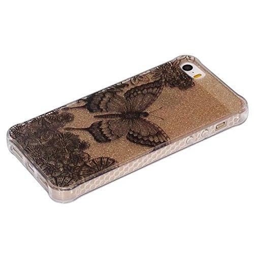 Etsue Silikon Schutz HandyHülle für iPhone 6 Plus/6S Plus (5.5 Zoll) TPU Muster, [Tribal Henna Mandala Blume] Einzigartig Malerei Muster Durchsichtig Silikon Handytasche Ultradünnen Weiche Transparent Glitzer,schwarz Schmetterling