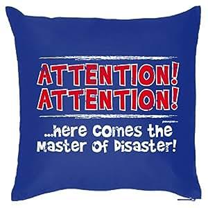 Goodman Design ® Deko/Funkissen mit Füllung lustige Sprüche: Attention! Here comes the Master of Disaster! - tolle Geschenkidee