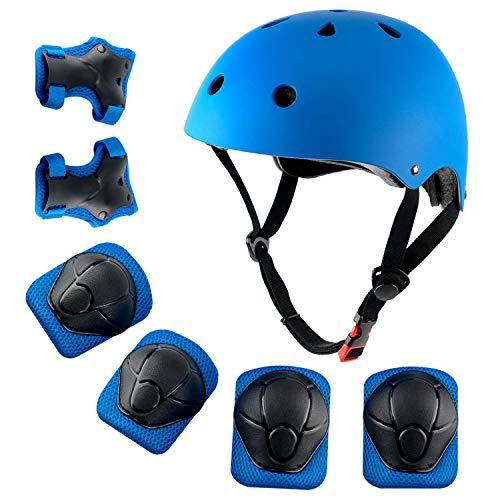 Roawon Ginocchiere Casco per Bambini 3-8 Anni Casco Bambino, Casco Bici da Skate per Bambini Elastico ciclomotore Hoverboard Pattini per Casco