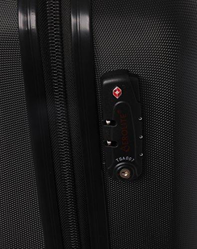 Aerolite ABS Hartschale 4 Rollen Leichtgewicht Handgepäck Kabinenkoffer mit eingebautem TSA Schloss, Genehmigt für Ryanair, British Airways & Viele Mehr, 79cm, Schwarz - 4
