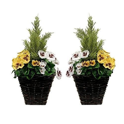 2x Künstliche Terrasse Pflanzgefäßen–Gelb & Weiß Blumen & Konifere/Zeder Formschnitt (Outdoor-zeder Möbel)
