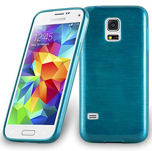 Cadorabo DE-104635 Samsung Galaxy S5 Mini / S5 Mini DUOS (G800F) Handyhülle aus TPU Silikon in gebürsteter Edelstahloptik (Brushed) Türkis