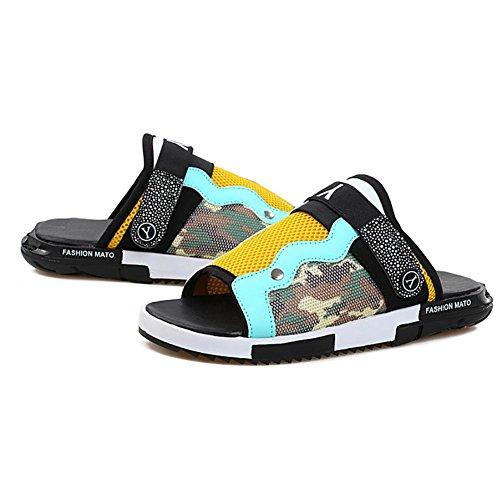 SHANGXIAN Unisexe PU antidérapant imperméable intérieur pantoufles ménage chaussures noir bleu Yellow
