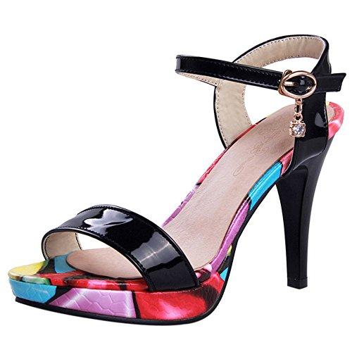 COOLCEPT Damen Mode Knochelriemchen Sandalen Open Toe Slingback Stiletto Schuhe Schwarz