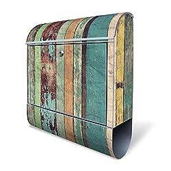 Banjado Design Briefkasten mit Motiv Bunte Bretterwand | Stahl pulverbeschichtet mit Zeitungsrolle | Größe 39x47x14cm, 2 Schlüssel, A4 Einwurf, inkl. Montagematerial