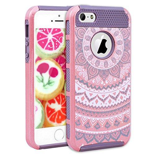 GrandEver Coque iPhone 5 / 5s / SE [ 2 en 1 ] Mandala Motif Design Silicone Souple Bumper et PC Dur Rigide Couche Double Backcover Etui Housse Case pour iPhone 5 / iPhone 5s / iPhone SE --- Vert Rouge Rose Gris