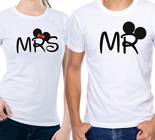T-shirt coppia lui e lei mr e mrs