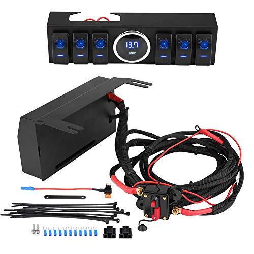 Schalttafel Sicherung Schalter, 6 Wippschalter Pod Panel Control Bracket W/Blade Sicherung und Relais für Wrangler JK JKU 07-18 Steckdosenleiste -
