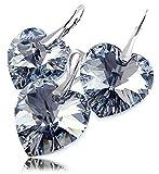 Swarovski-Kristalle Schöner Ohrringe Anhänger Kette Comet Herz Sterling Silber 925Zertifikat