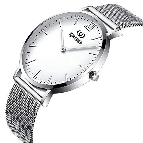 Uhren Quarzuhr für Männer Frauen Leichte einfache Armbanduhr Ultradünne Pendleruhr für die Arbeitssuche Zubehör (Color : Weiß, Size : Kostenlos)