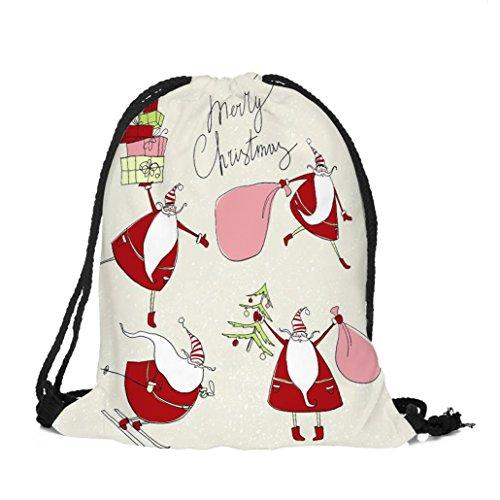 Longra Tessuto di Natale del cotone di tema di natale Babbo Natale Buon Natale sacchetto di Drawstring della tasca del Bundle di stampa C