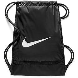 Nike Sac de Gym d'entraînement Brasilia unisexe, noir / blanc, 48,5 x 38 x 5 cm