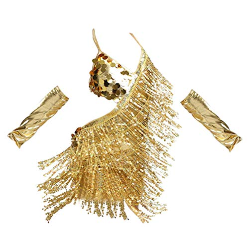 Für Jazz Tanz Teams Kostüm - Gtagain Mädchen Schlinge Pailletten Quaste Tanzen Kleid - Latein Salsa Samba Rumba Tango Jazz Karneval Performance Team Kostüm