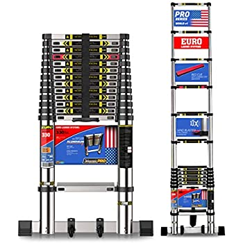 EuroLadderSystems Euro Pro Telescopic Ladder, Stores at 3.5 ft with 10x Stronger Sand Blasted Aluminium, Red Que Safe Step, Stabilizer and Wheel Kit (4.4 m, 14.5 ft)