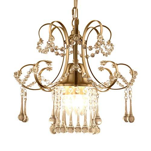 Schmiedeeisen Kristall Kronleuchter Beleuchtung 3 Lichter Deckenleuchte für Esszimmer Wohnzimmer Schlafzimmer Flur Eintrag (Champagner Gold),Hangingchain -