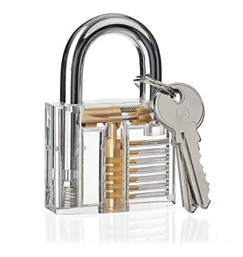 3er-Pack Praxis Lock Set, Geepro Kristall Visible Cutaway von 3 häufigsten Lock-Typen, für Schlosser Ausbildung Verschluss-Auswahl-Satz, enthält 3 verschiedene Arten von Übungs Padlock - 2