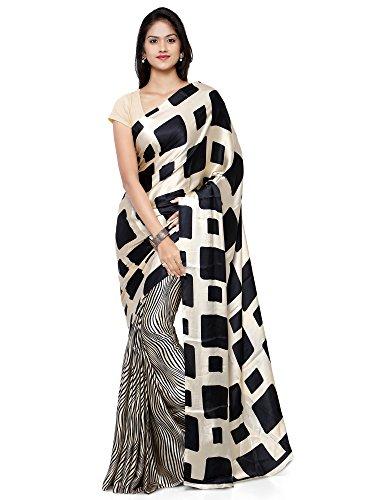 Craftsvilla Women\'s Crepe Printed Black & Cream Saree with Unstitched Blouse Piece