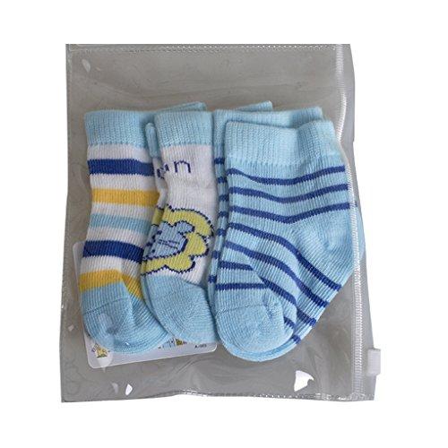 QHGstore 3pcs calzini caldi confortevoli tradizionali cotone punta per neonato ragazza Blue & 0-6M