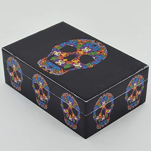 Prezentscom Trippy Skull Box Holzdose mit Deckel für Schmuck Gothic Pagan Fantasy Geschenk