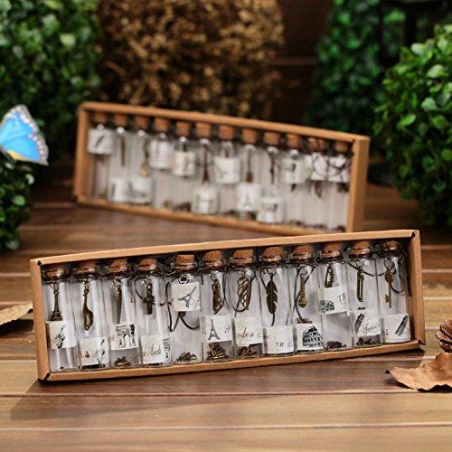Akoak transparente Vintage-/Retro Wunschflaschen, Mini-Glas mit Korkverschluss und mit Anhänger im Inneren, für Hochzeiten oder als Gastgeschenk/Geburtstagsgeschenk, Set mit 12 Stück