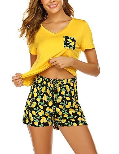 Kurzen Schlaf Kleid (Unibelle Damen Pyjama Schlafanzug Kurz Sommer Nachtwäsche Hausanzug Kurzarm Rund Ausschnitt S-XXL)